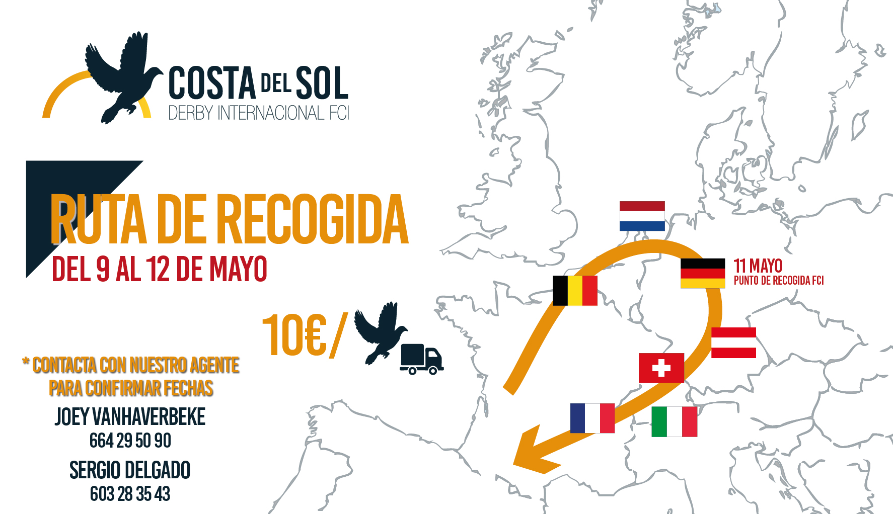 Pigeon collecting in Europe, from 9th till 12th of May
